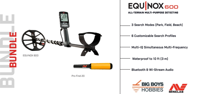 Minelab Equinox 600 with free Pro Find 20 pin pointer